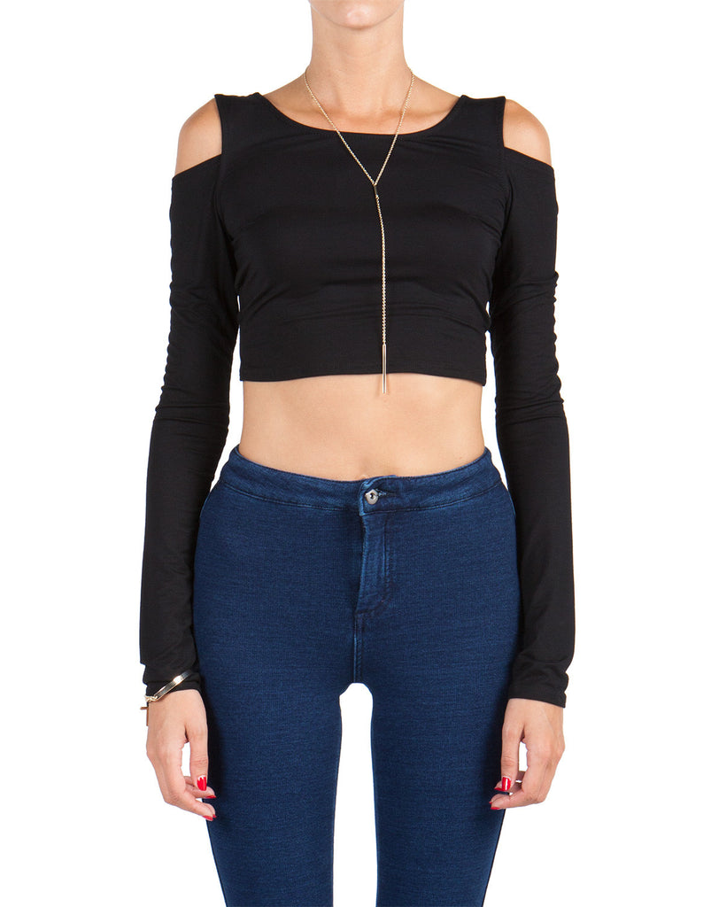 Long Sleeve Bow Back Crop Top - 2020AVE