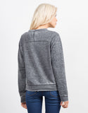 Back View of Long Sleeve Burnout Sweater Top
