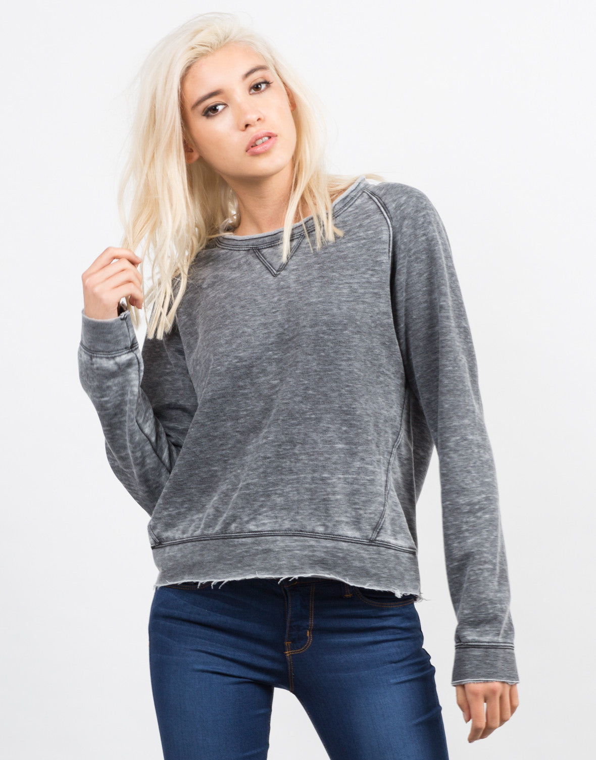 Long Sleeve Burnout Sweater Top - 2020AVE