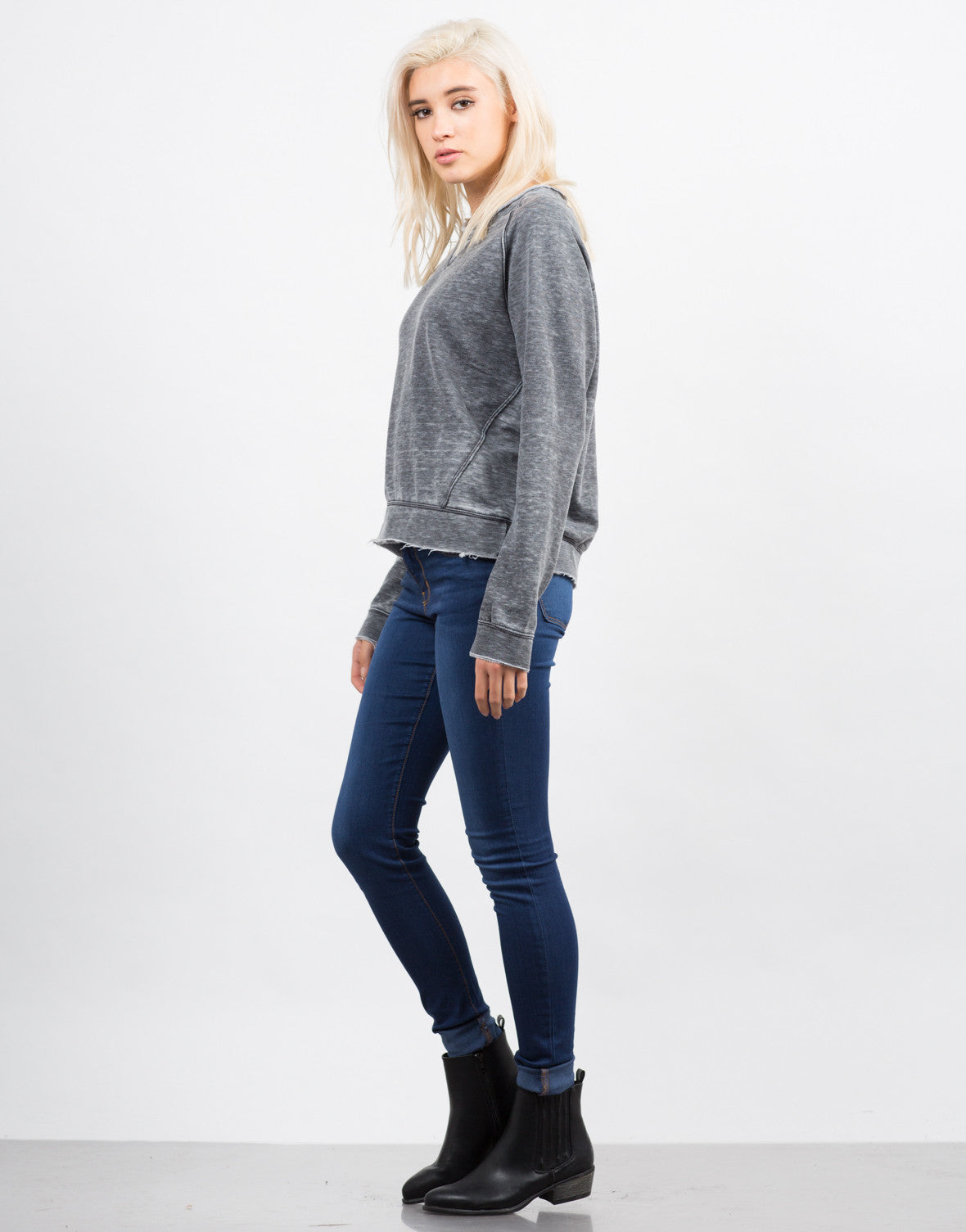Side View of Long Sleeve Burnout Sweater Top