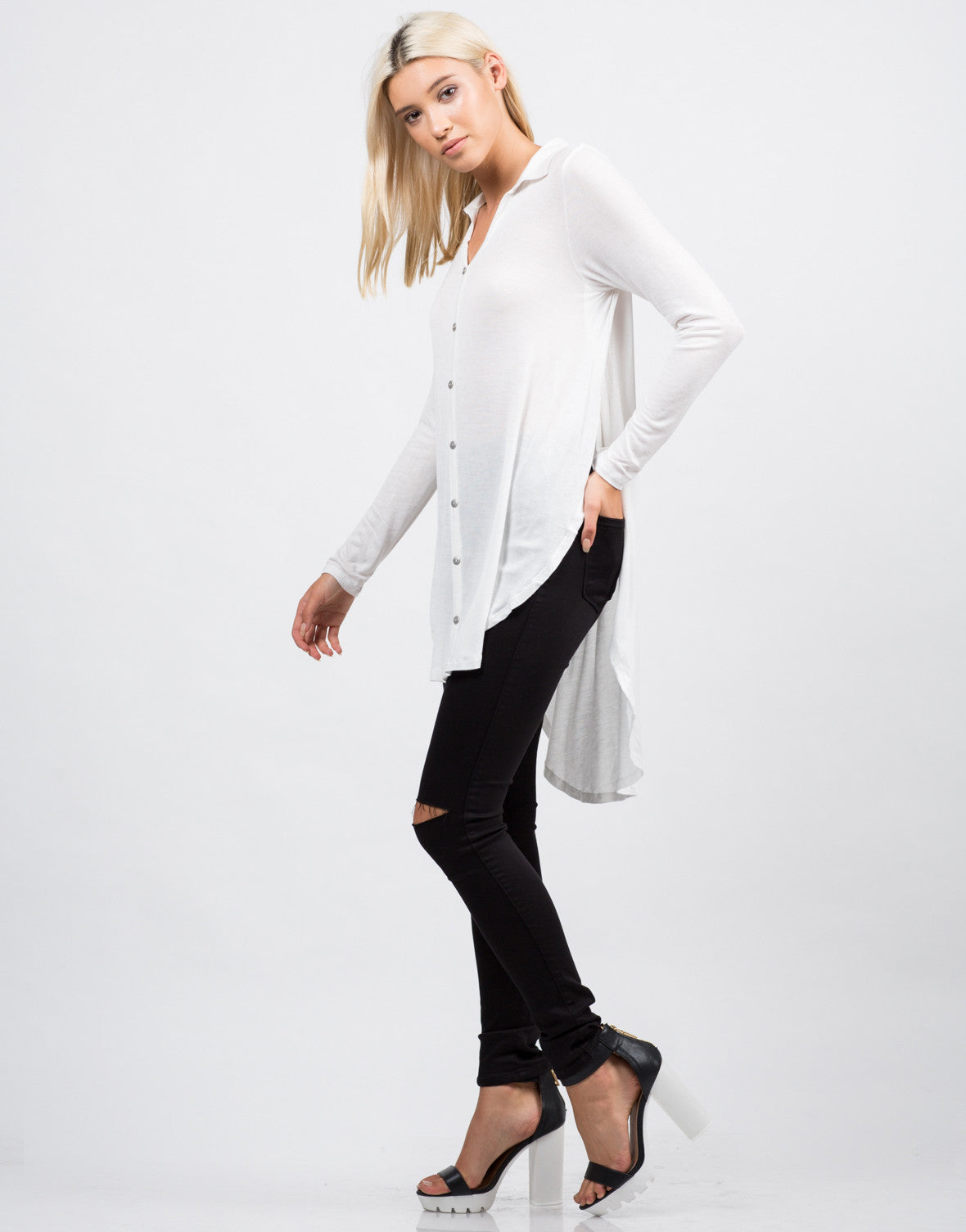 Side View of Long Sleeve Button Down Blouse