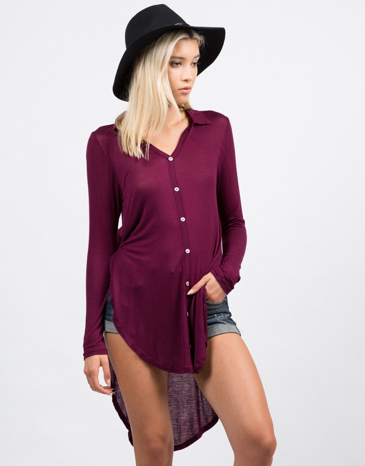 Front View of Long Sleeve Button Down Blouse