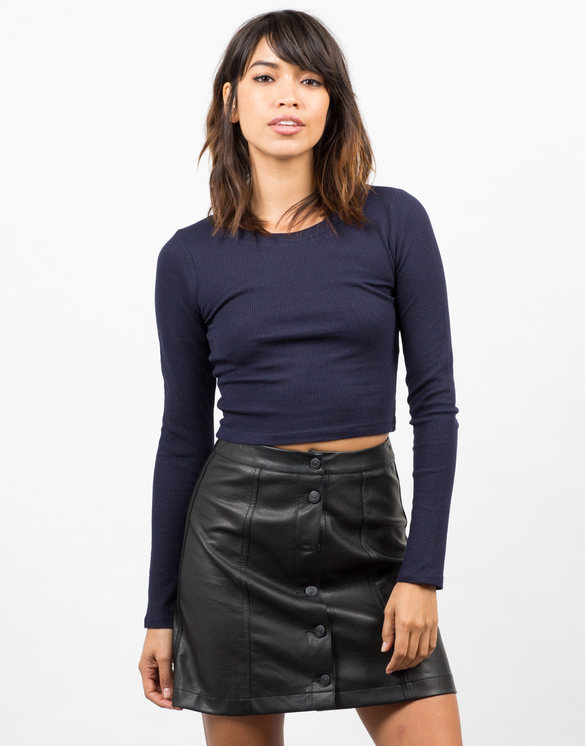 Front View of Long Sleeve Cropped Thermal