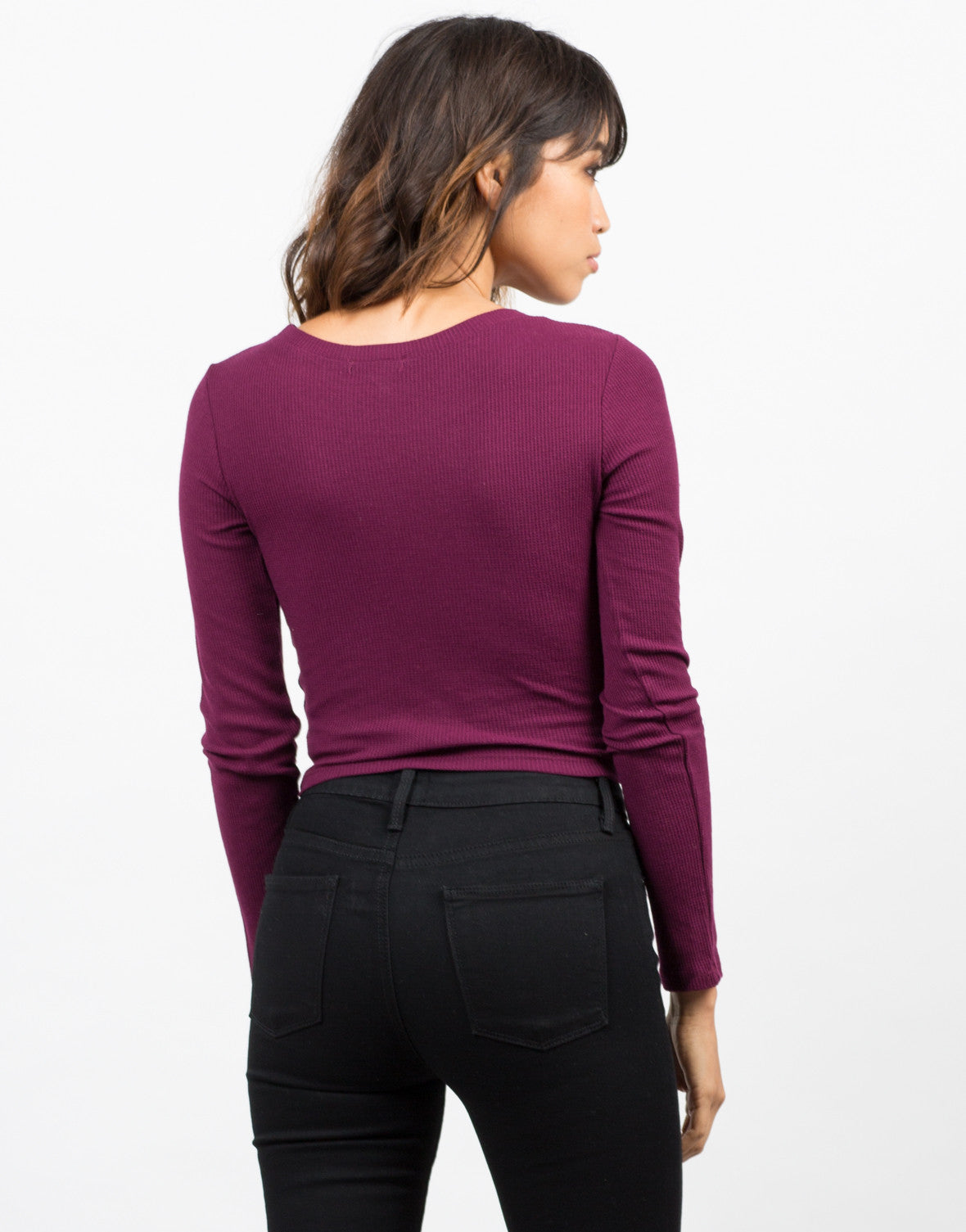 Back View of Long Sleeve Cropped Thermal