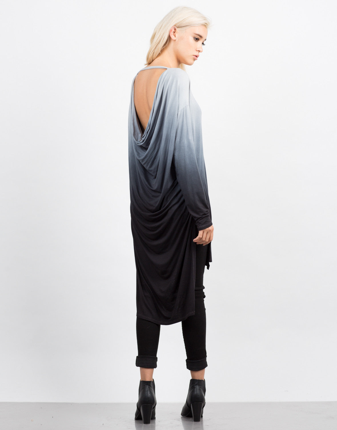 Back View of Long Sleeve Draped Back Ombre Tunic