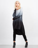 Front View of Long Sleeve Draped Back Ombre Tunic