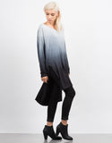 Side View of Long Sleeve Draped Back Ombre Tunic