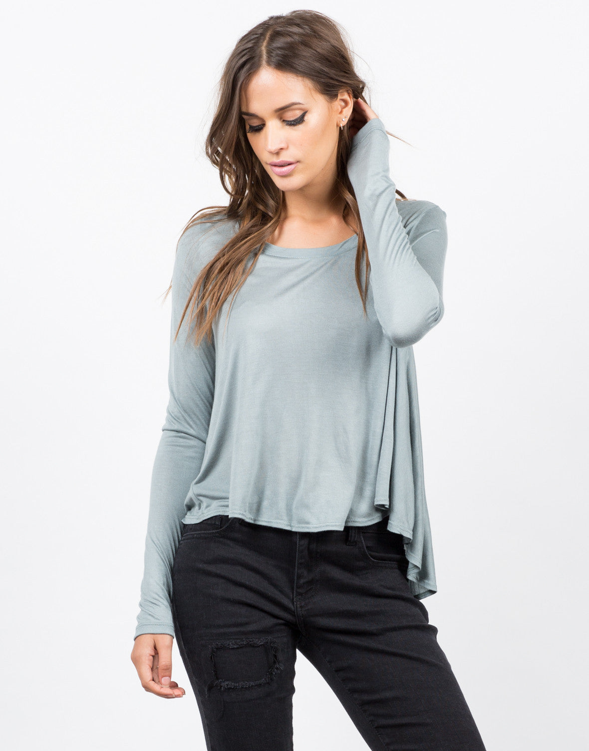 Front View of Long Sleeve Flowy Tee