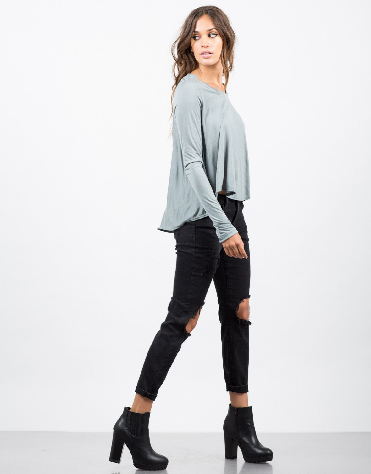Side View of Long Sleeve Flowy Tee