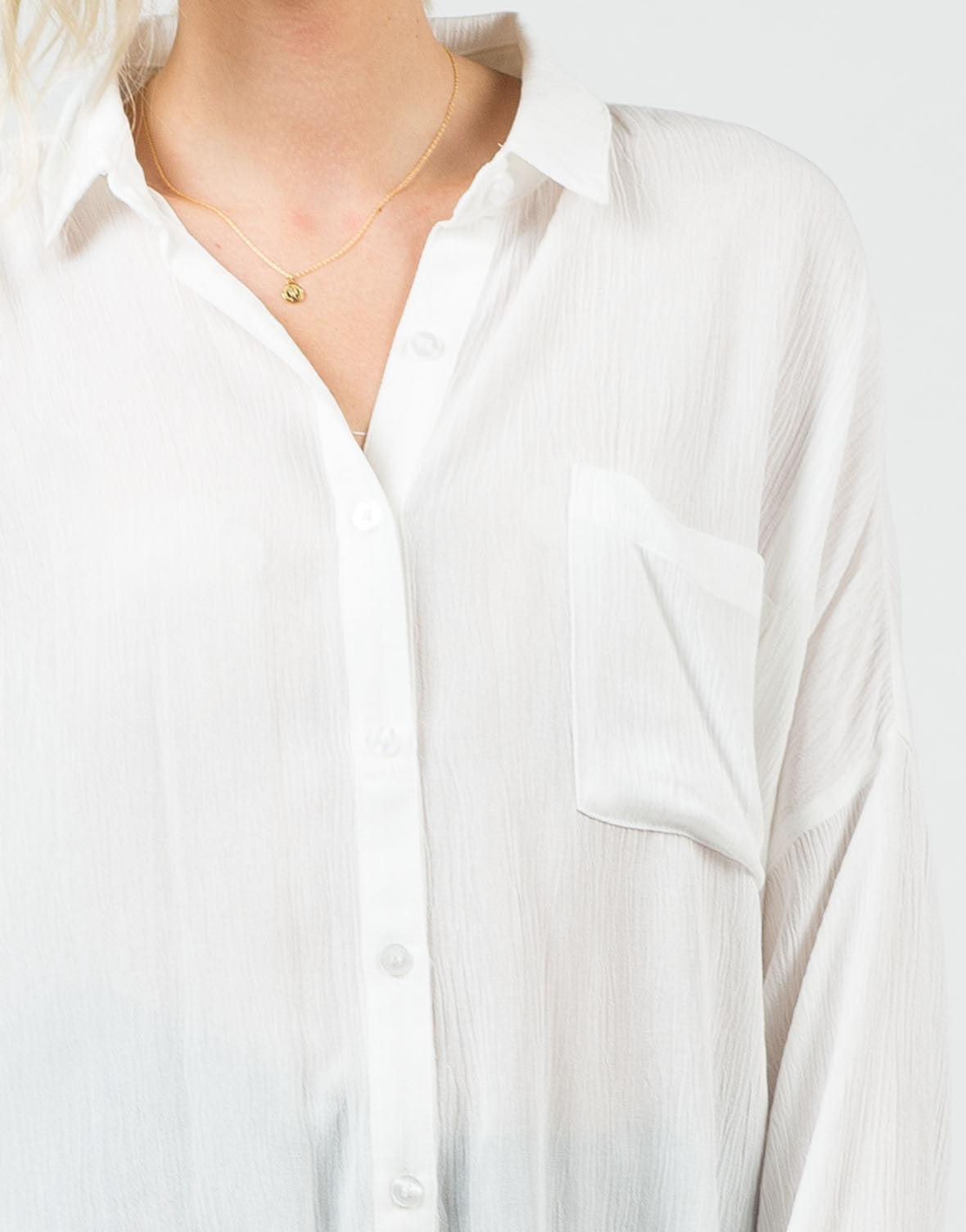 Detail of Long Sleeve Gauze Button Up