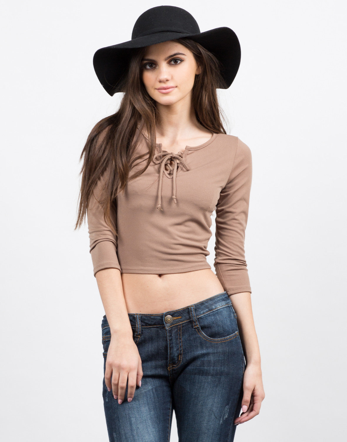 Front View of Long Sleeve Lace Up Top