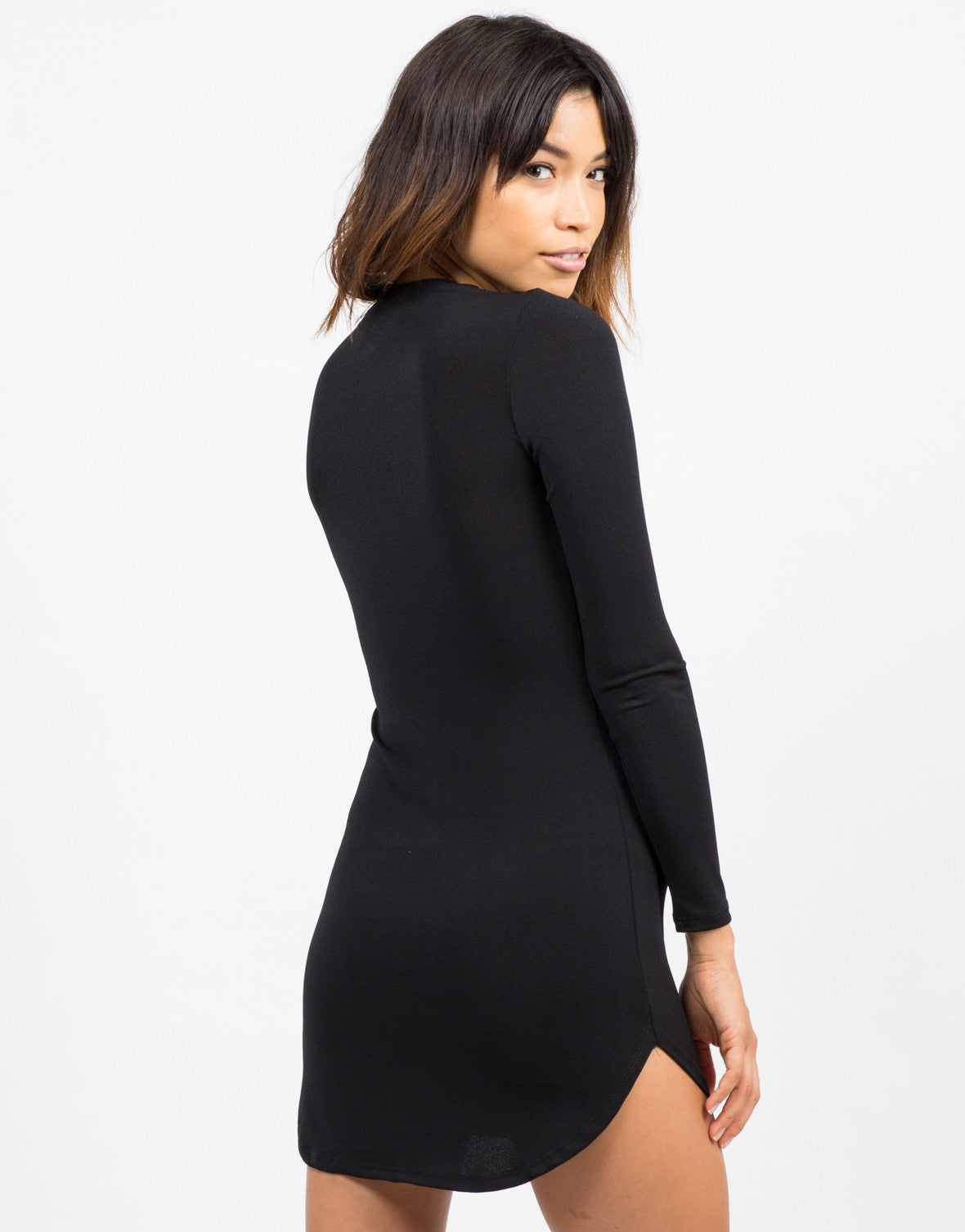 Back View of Long Sleeve LBD