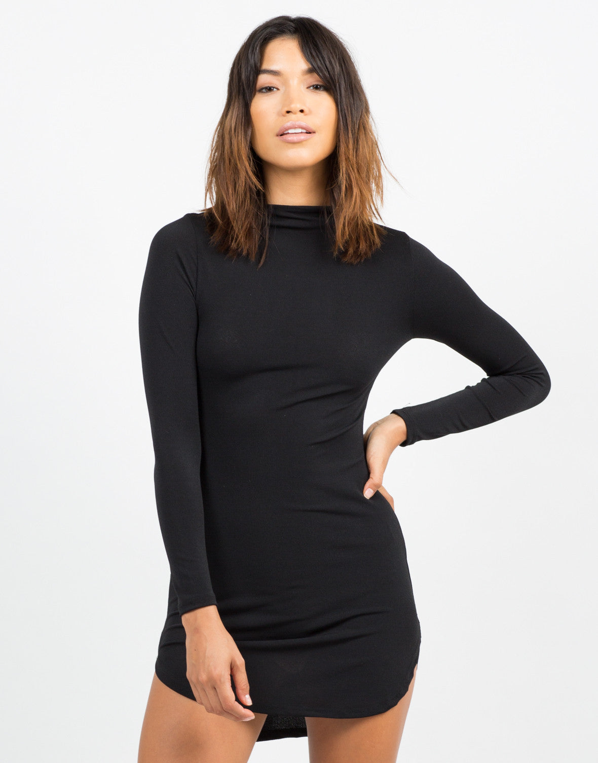 Front View of Long Sleeve LBD