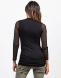 Back View of Long Sleeve Mesh Top