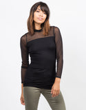 Front View of Long Sleeve Mesh Top