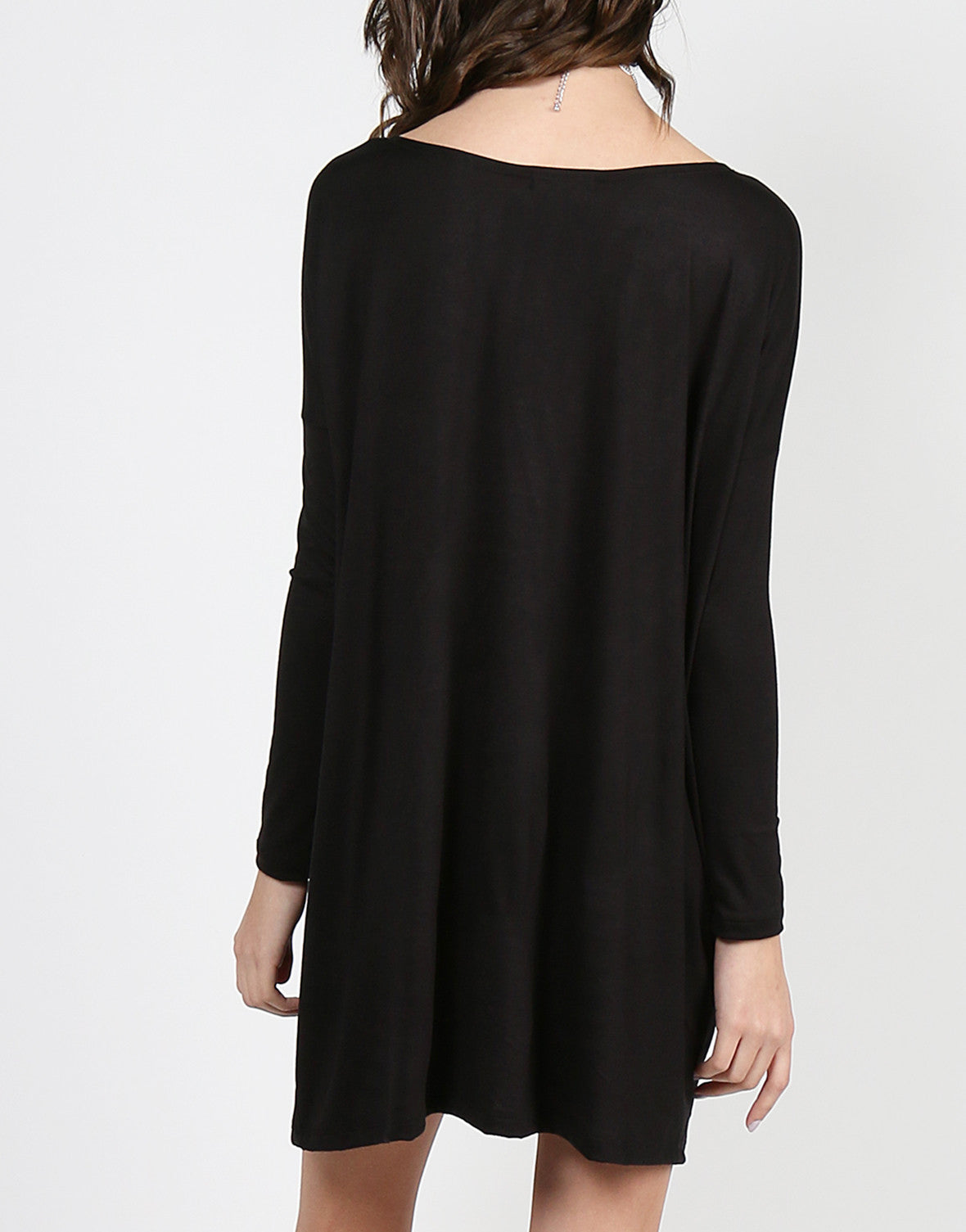Long Sleeve Shirt Dress - Black