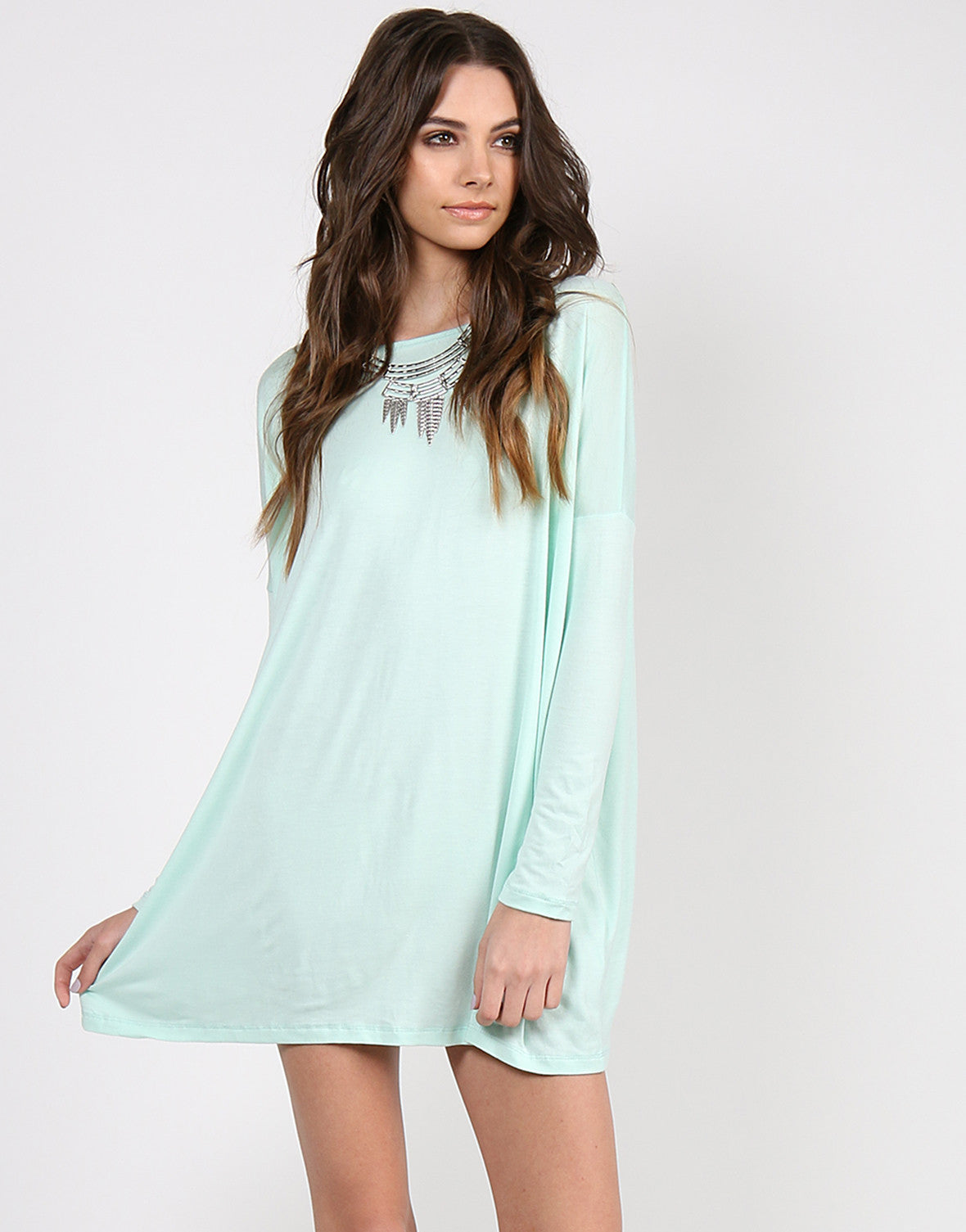 Long Sleeve Shirt Dress - Mint