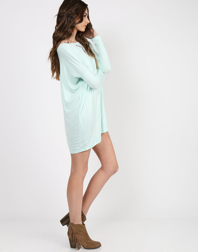 Long Sleeve Shirt Dress - Light Mint - 2020AVE