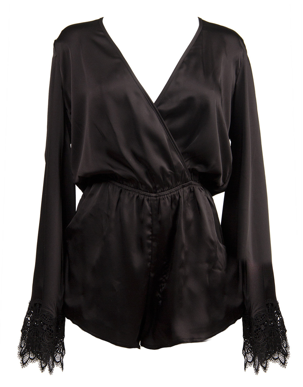 Long Sleeve Silky Romper - Black