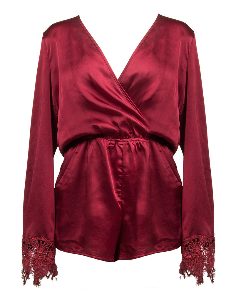 Long Sleeve Silky Romper - Wine - 2020AVE