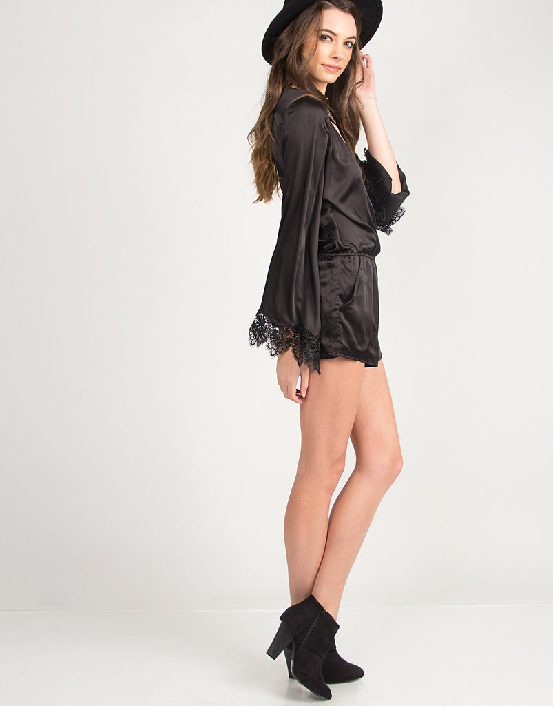 Long Sleeve Silky Romper - Black - 2020AVE