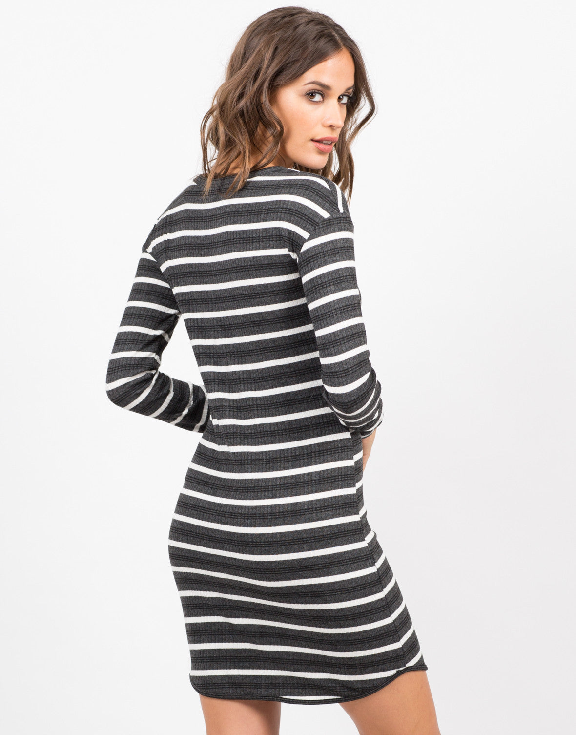 Back View of Long Sleeve Striped Rib Dress