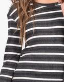 Detail of Long Sleeve Striped Rib Dress