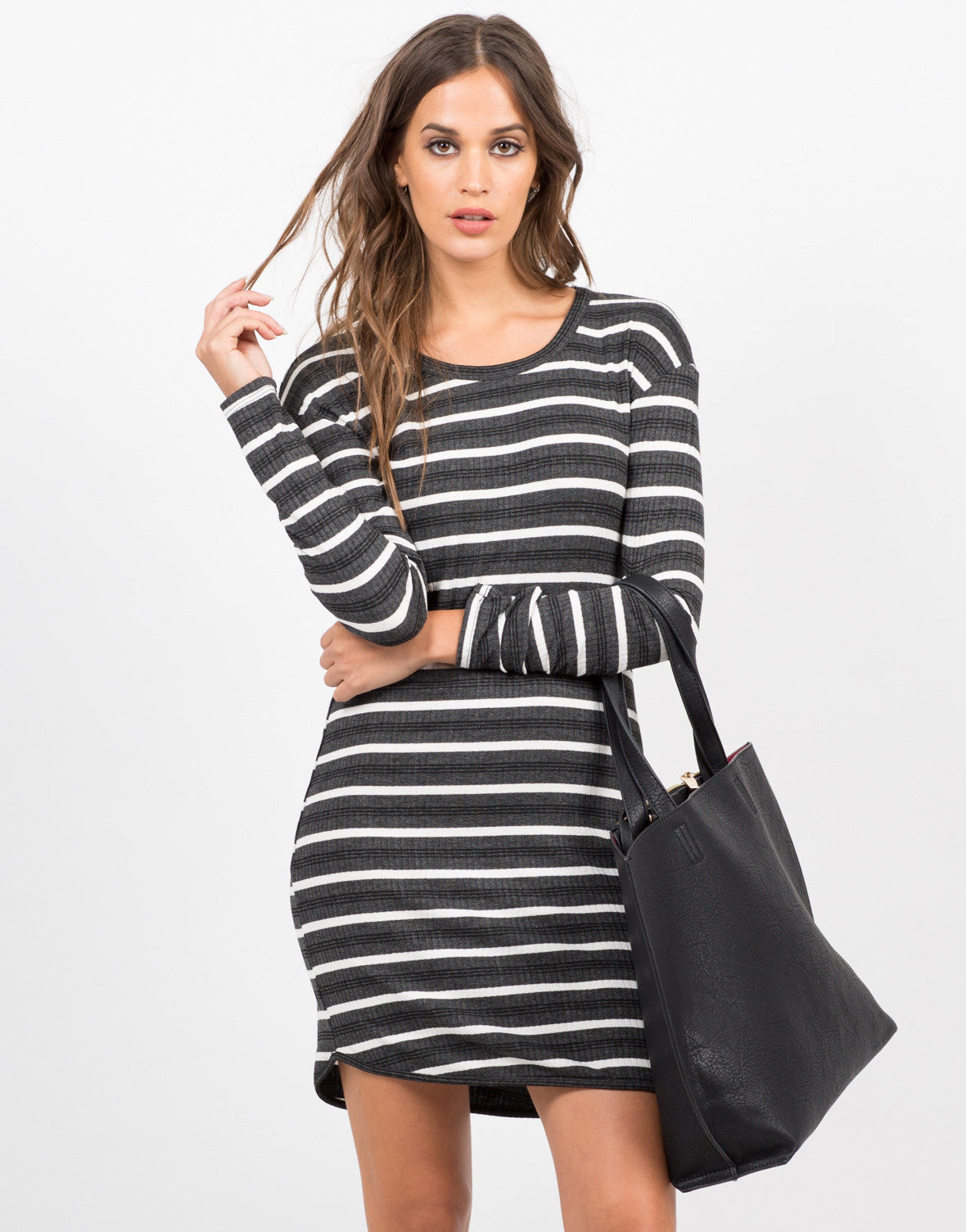 Front View of Long Sleeve Striped Rib Dress
