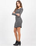 Side View of Long Sleeve Striped Rib Dress