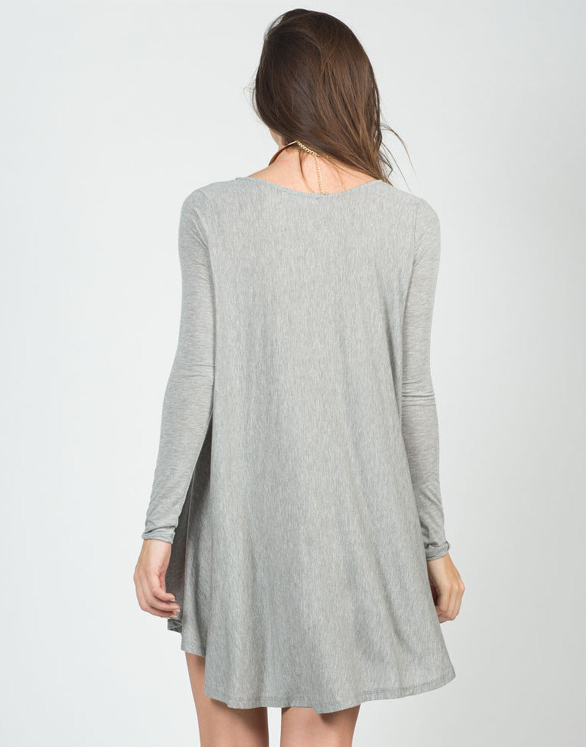 Back View of Long Sleeve Swing Top
