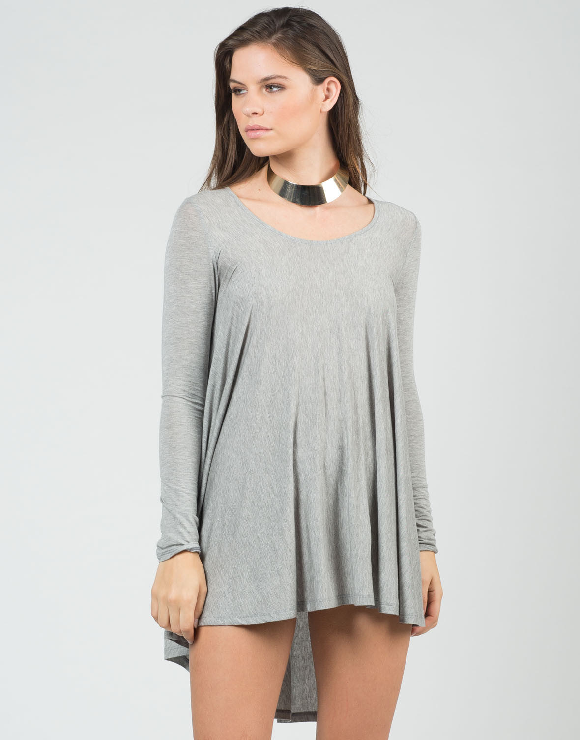 Front View of Long Sleeve Swing Top