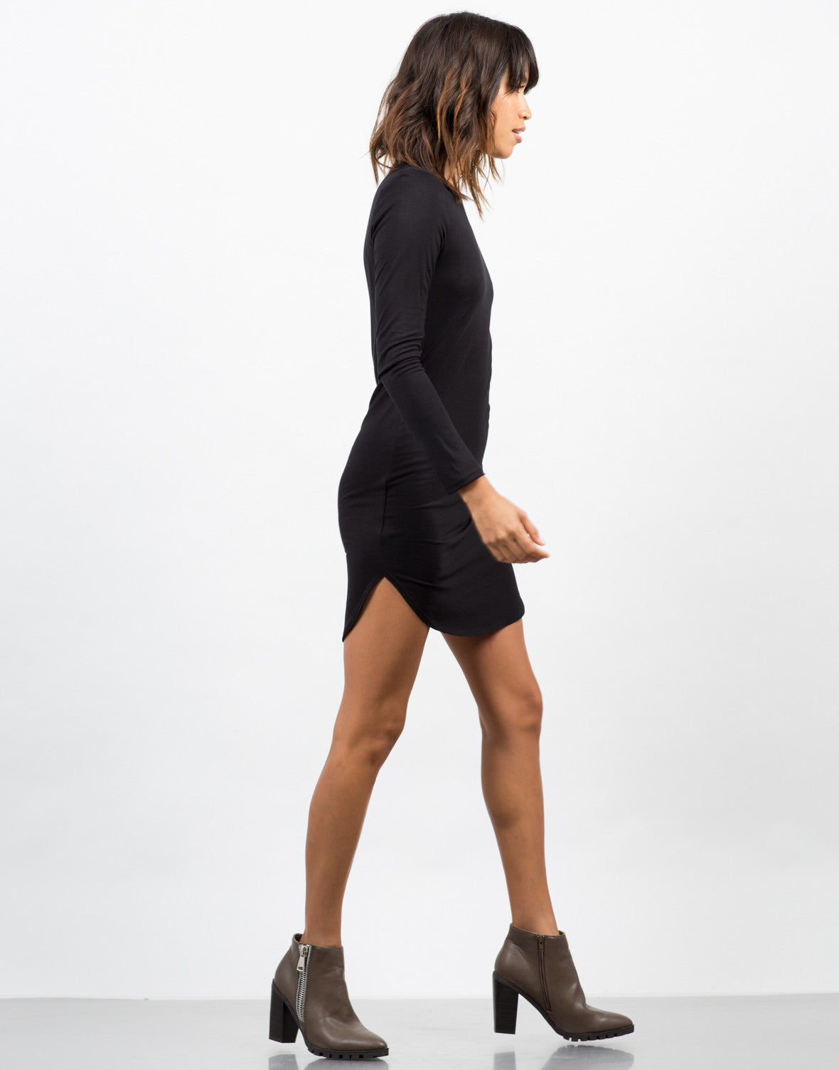 Side View of Long Sleeve T-Shirt Dress