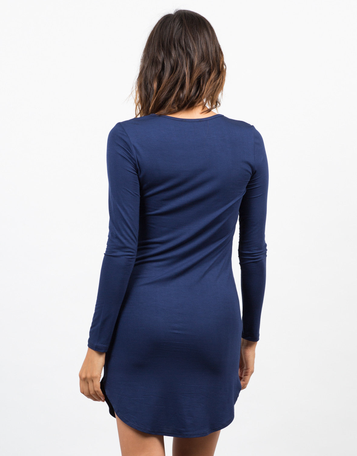 Back View of Long Sleeve T-Shirt Dress