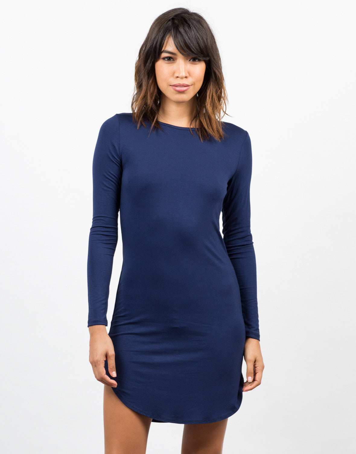 Front View of Long Sleeve T-Shirt Dress
