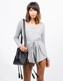 Front View of Long Sleeve Tulip Romper