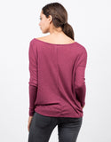 Back View of Long Sleeve V-Neck Top