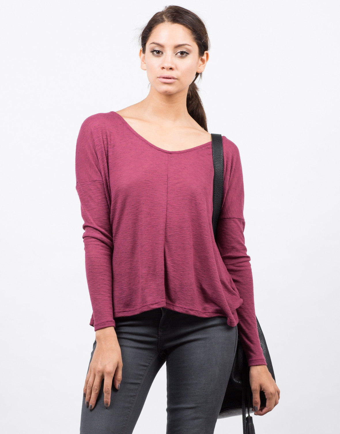 Front View of Long Sleeve V-Neck Top