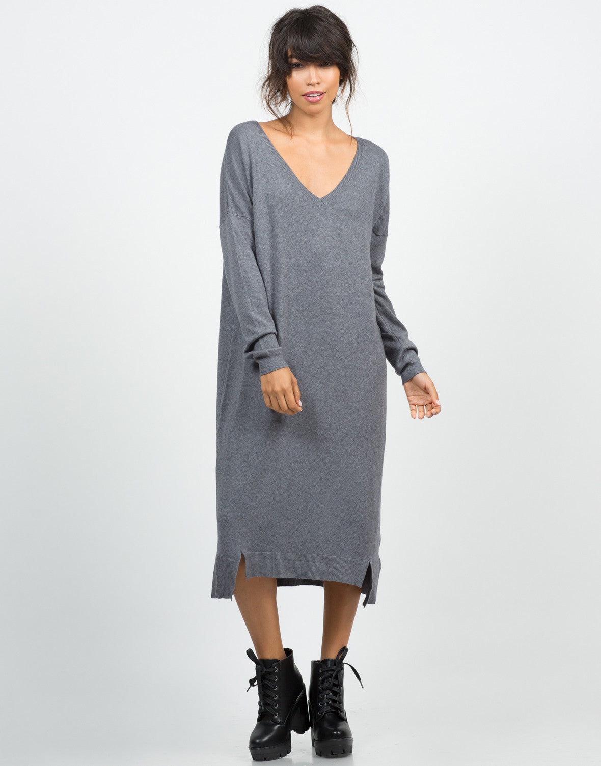 Front View of Long Sweater Dress
