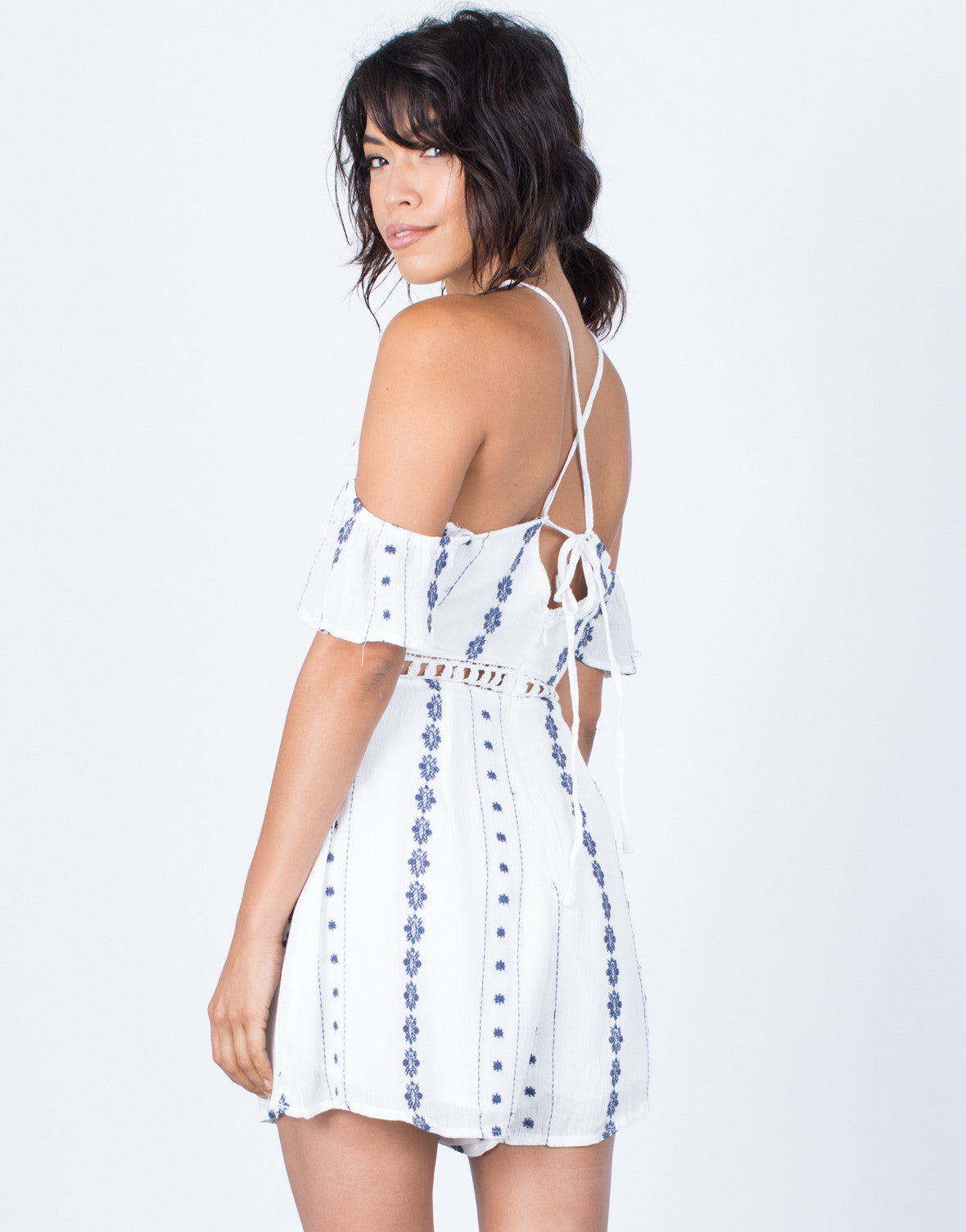 Back View of Looped Together Crochet Romper