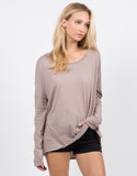 Front View of Loose Long Sleeve Basic Tee