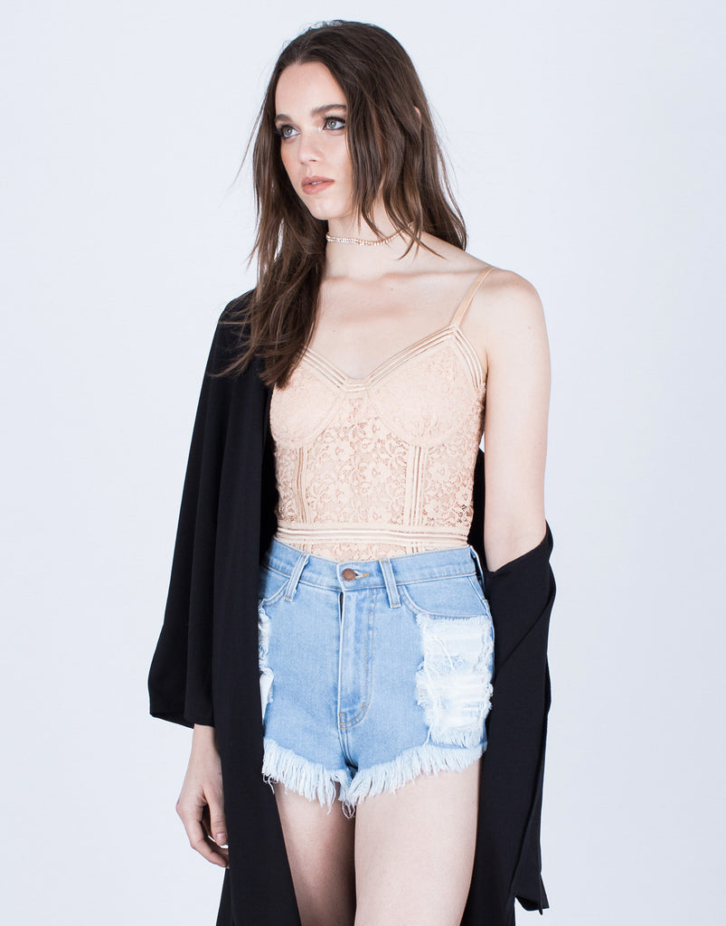 Lovely Floral Lace Bodysuit - 2020AVE