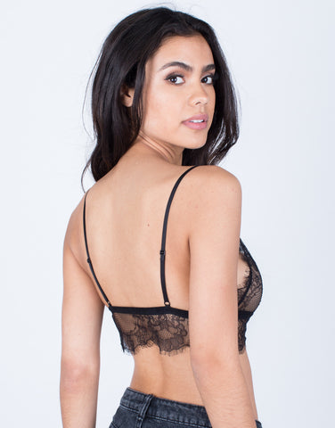 Back View of Lovely Floral Lace Bralette