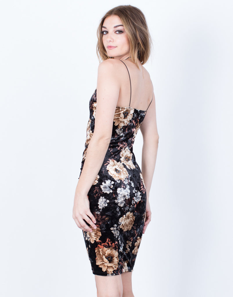 Lovely Velvet Floral Dress - 2020AVE