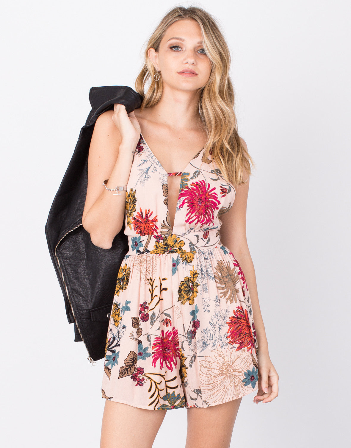 Front View of Lovin' Autumn Floral Romper