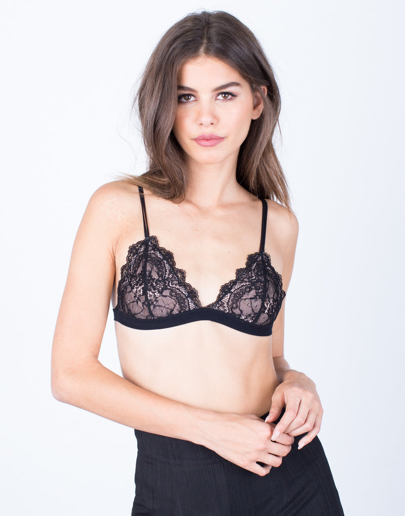 Front View of Lovin' Floral Lace Bralette