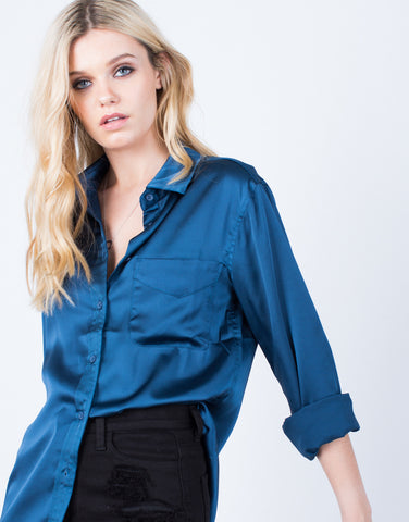 Detail of Lovin' Satin Button Up Blouse