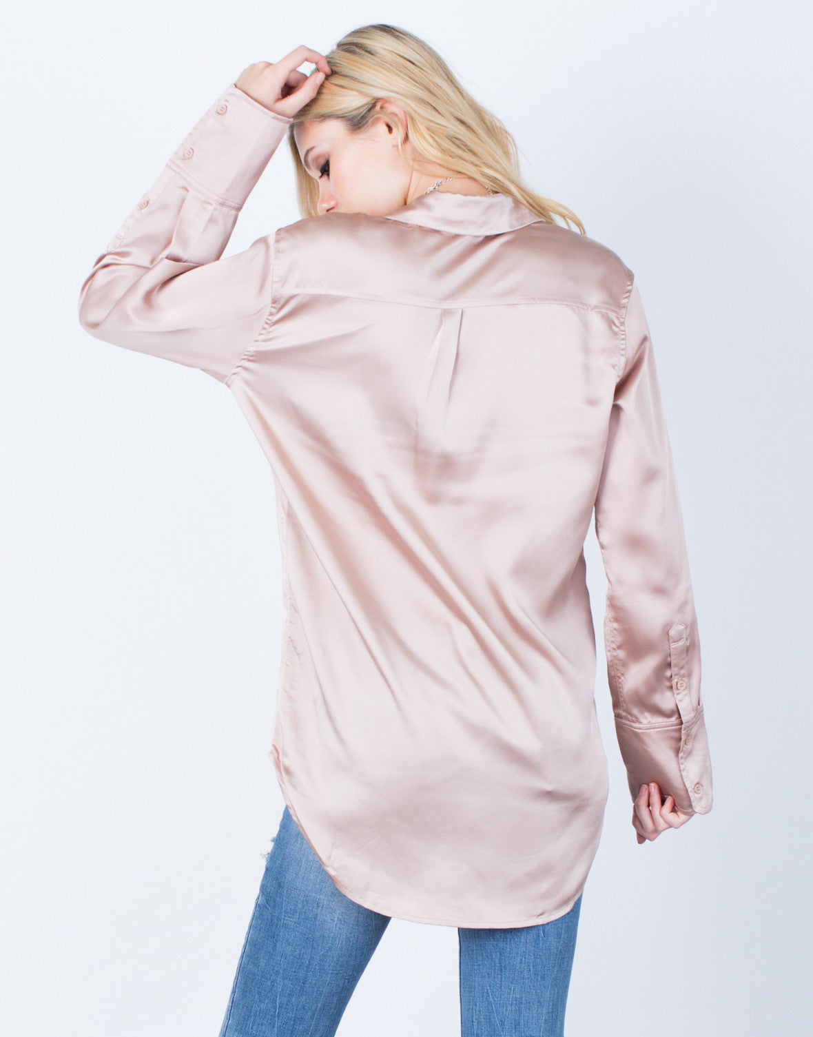 Back View of Lovin' Satin Button Up Blouse