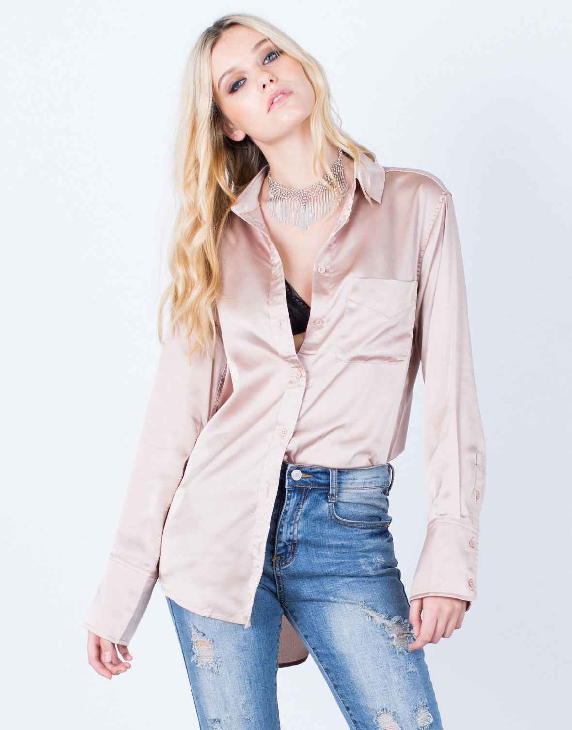 Front View of Lovin' Satin Button Up Blouse