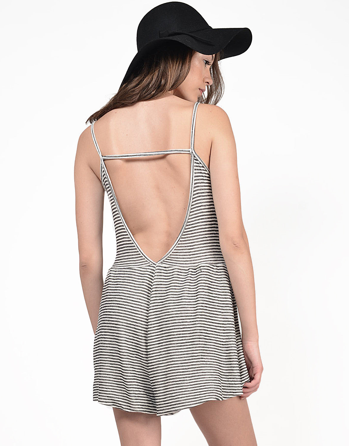 Back View of Low Back Striped Romper