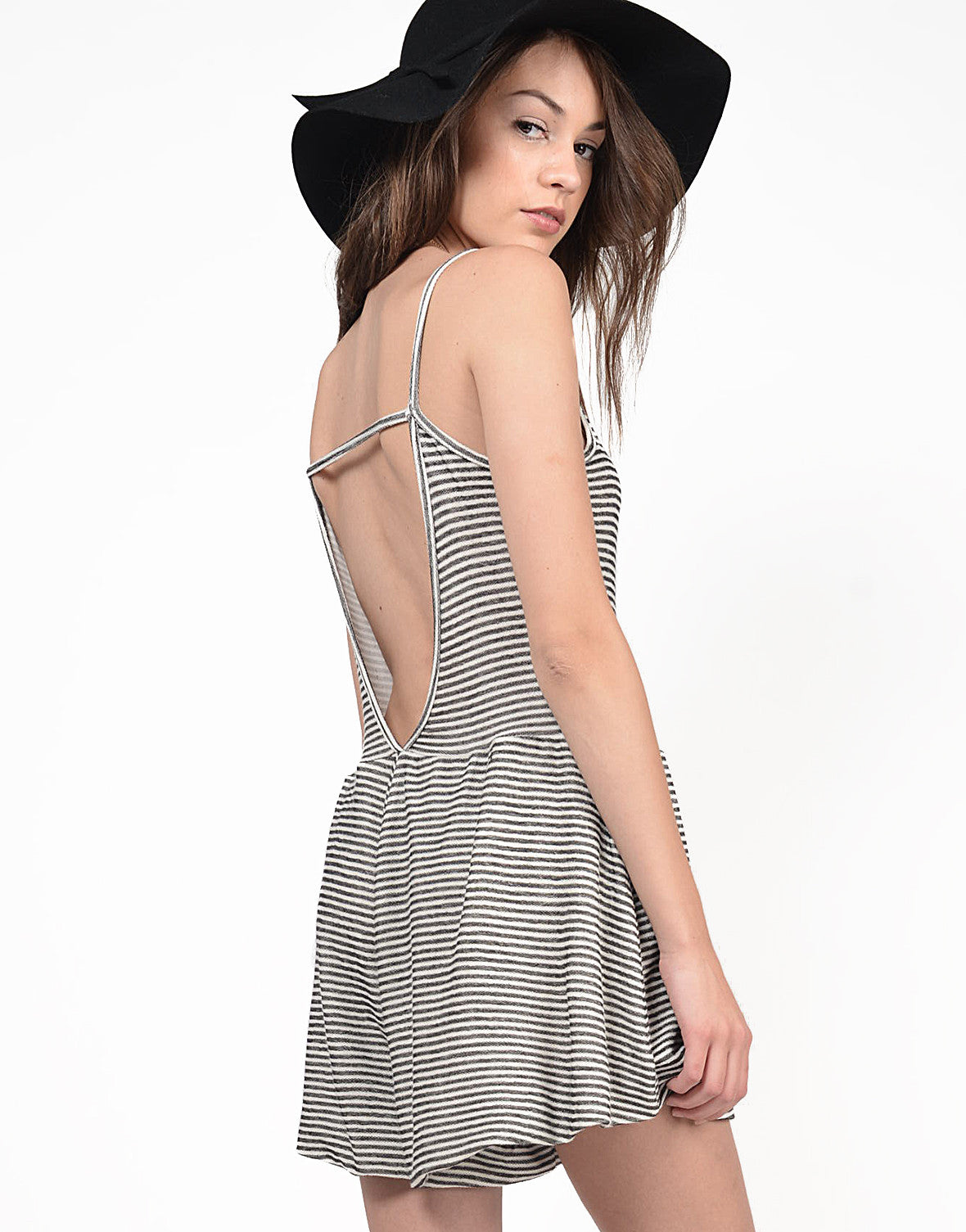 Detail of Low Back Striped Romper